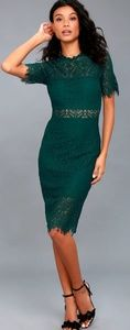 LULUS - Remarkable Forest Green Lace Dress/M